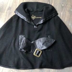 MACKAGE Black Wool with Leather Accents Cape NWOT